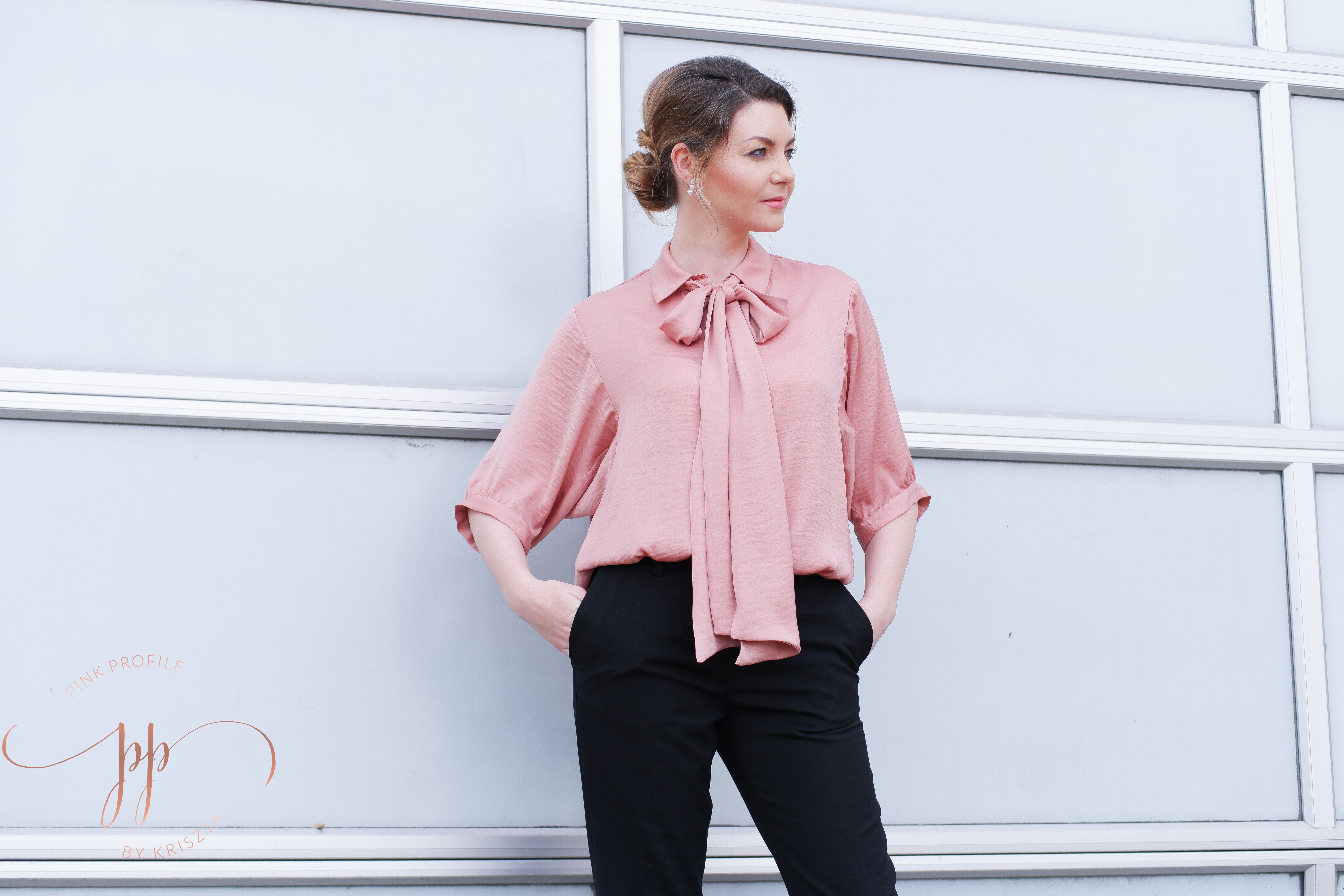 Street Style Bow Tie Shirt Pink Profile By Kriszta